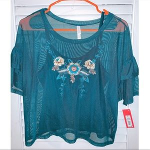 Sheer Blue/Green Two Piece Crop Top by Target